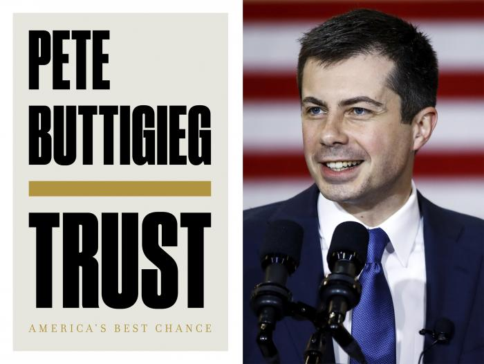 "The cover of ""Trust: America's Best Chance"" written by former Democratic presidential candidate and South Bend, Indiana, mayor Pete Buttigieg,"