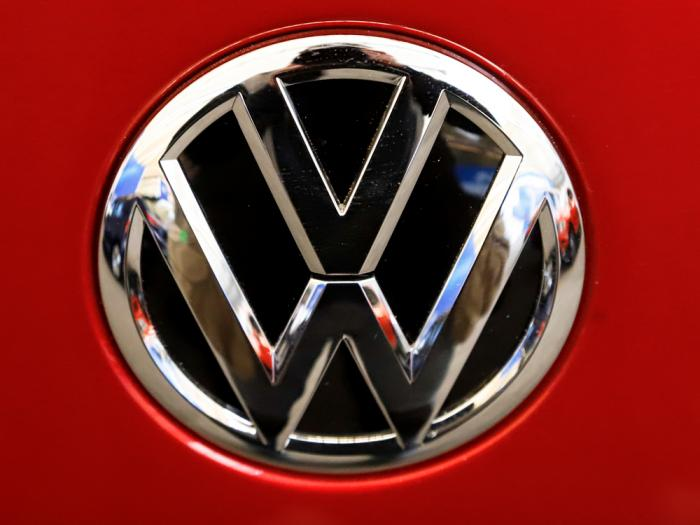 This Feb. 14, 2019, file photo, shows the Volkswagen logo on an automobile at the 2019 Pittsburgh International Auto Show in Pittsburgh