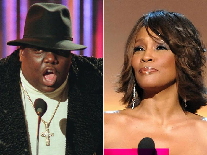 This combination photo shows Notorious B.I.G., who won rap artist and rap single of the year, during the annual Billboard Music Awards in New York on Dec. 6, 1995, left, and singer Whitney Houston at the BET Honors in Washington on Jan. 17, 2009