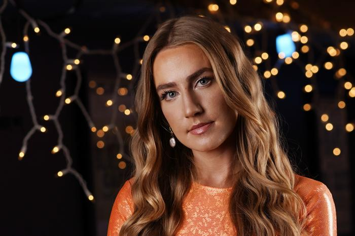 """Country singer Ingrid Andress poses in Nashville, Tenn., on Oct. 1, 2020, to promote her album """"Lady Like."""" (AP Photo/Mark Humphrey)"""