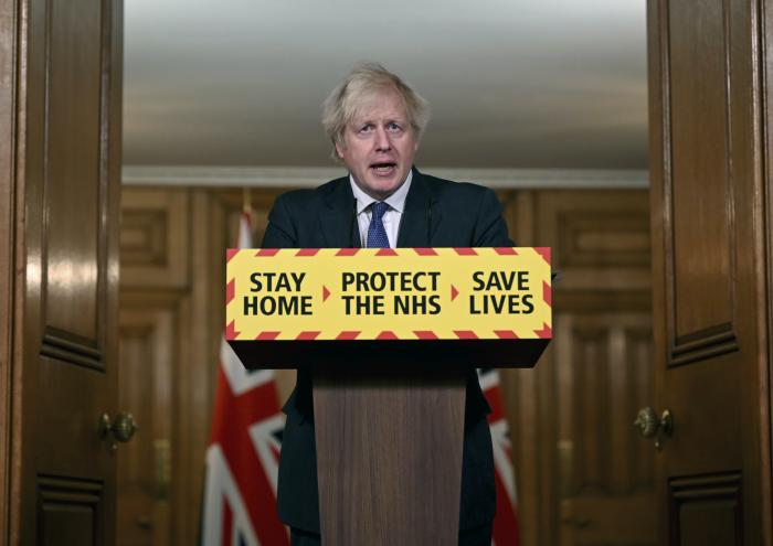 Britain's Prime Minister Boris Johnson speaks during a coronavirus press conference at 10 Downing Street in London.