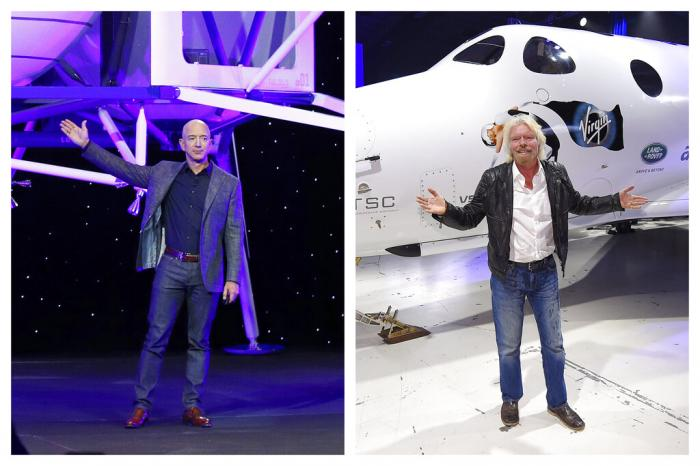 This combination of 2019 and 2016 file photos shows Jeff Bezos with a model of Blue Origin's Blue Moon lunar lander in Washington, left, and Richard Branson with Virgin Galactic's SpaceShipTwo space tourism rocket in Mojave, Calif.