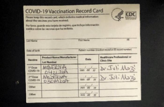 A fake CDC COVID-19 Vaccination Record Cards that is part of a criminal complaint.