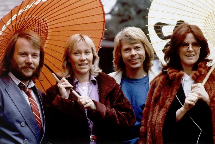 Members of the pop group ABBA, from left, Benny Andersson, Agnetha Foltskog, Bjorn Ulvaeus and Anni-Frid Lyngstad, appear in Tokyo on March 14, 1980.