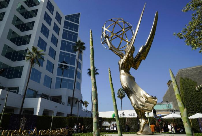An Emmy statue is pictured during Press Preview Day for the 73rd Primetime Emmy Awards, Wednesday, Sept. 14, 2021, at the Television Academy in Los Angeles.
