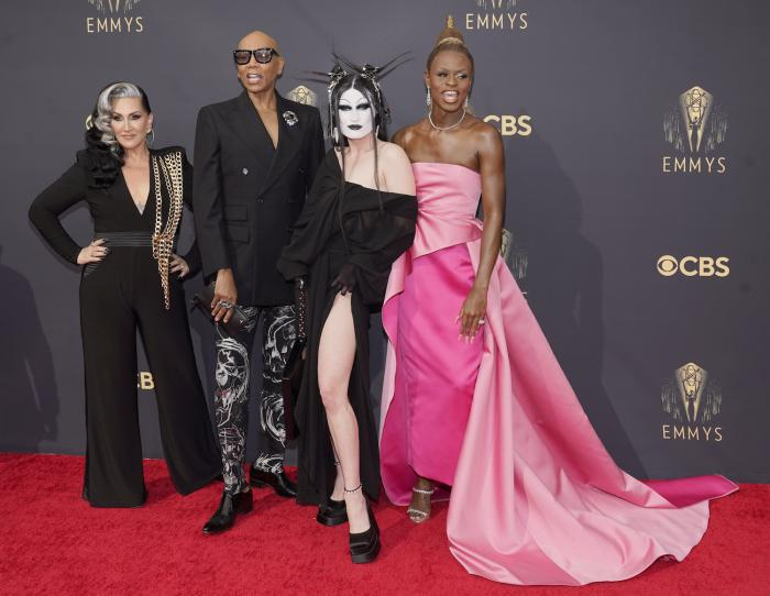 (l to r) Michelle Visage, from left, RuPaul, Gottmik and Symone